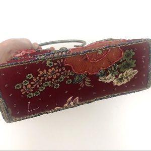 Vintage Bags - SOLD Vintage Red Floral Beaded Mini Purse